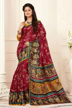 Red madhubani printed khadi semi silk saree