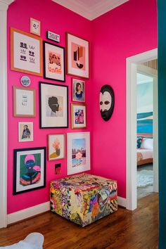 In This Self-Taught Designer's Prismatic Family Home, Hot Pink Is a Neutral Hot Pink Bedrooms, Pink Bedroom Walls, Bedroom Wall Colors, Pink Walls, Kids Bedroom, Murs Roses, Living Room Bookcase, Tableau Design, Decorating Rooms