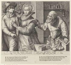 Jong paar en een oude man met geldkist (Ongelijke liefde), Jan Saenredam, Cornelius Schonaeus, 1589 - 1607