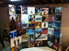 DIY photobooth backdrop vinyl record albums wedding decorations | Capitol Romance ~ Real DC Weddings