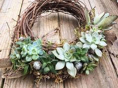 10 inch succulent wreath made custom. Each vary slightly and include various types of succulents, color, and textural items Types Of Succulents, Colorful Succulents, Hanging Succulents, Small Succulents, Succulent Gardening, Succulent Terrarium, Succulents Garden, Succulent Centerpieces, Succulent Bouquet