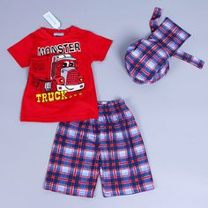 Active boys sets boy shorts Cartoon suits summer short sleeve T-shirt + plaid pants + hat 3 pieces clothing set Like if you remember Visit our store