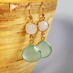 Aqua chalcedony and moonstone earrings, stone earrings, beach wedding jewelry, summer jewelry , mint, aqua, Aina Kai on Etsy, $56.00