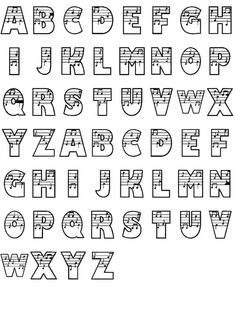 music font - for music displays Hand Lettering Alphabet, Calligraphy Alphabet, Alphabet Fonts, Types Of Lettering, Lettering Styles, Embroidery Fonts, Machine Embroidery Designs, Embroidery Patterns, Music Letters