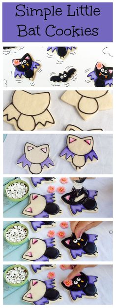Simple Little Bat Cookies - Follow this simple tutorial to make these cute girl bats via thebearfootbaker.com