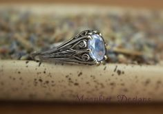 Filigree White Sapphire Engagement Ring in by moonkistdesigns