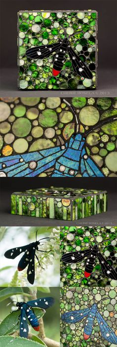 """Oleander Moth Mosaic by Cherie Bosela © 2013    Title: untitled    Size: 6"""" x 6"""" x 1.75""""    Medium: stained glass, beads, millefiori and orginial photography    When I discovered this moth in my backyard - as soon as I saw that it turned from black to iridescent blue - I knew right then and there I had to make it into a mosaic and knew exactly which glass I'd use!!  The color blue couldn't be more perfect!!!"""