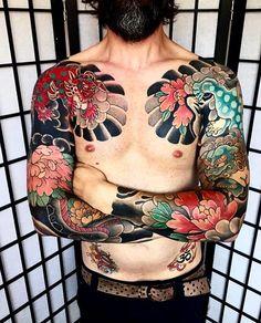 Japanese tattoo sleeves by @patrickguerrera.  #japaneseink #japanesetattoo #irezumi #tebori #colortattoo #colorfultattoo #cooltattoo #largetattoo #armtattoo #chesttattoo #tattoosleeve #flowertattoo #foodog #foodogtattoo #blackwork #blackink #blacktattoo #wavetattoo #naturetattoo