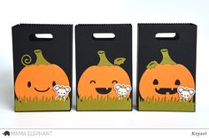 Create cute Pumpkins for your Mama Elephant Favor Bags! The Pumpkin Accessory works with Favor Bag. Approximate Measurements: Pumpkin Frame x Halloween Boo, Halloween Cards, Halloween Pumpkins, Pumpkin Faces, Cute Pumpkin, Mama Elephant Cards, Goodie Bags, Favor Bags