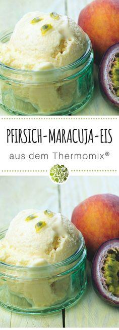 Pfirsich-Maracuja-Joghurt-Eis aus dem Thermi! Die leckerstenThermomix®️ Eis Rezepte gibt es hier. Im MIXELITE EIS & MEHR Rezeptheft von will-mixen.de. Für TM5®️ und TM31 geeignet. #thermomix #willmixen #eis