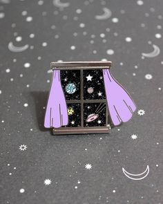 Outer Space Window Hard Enamel Pin - My View Series Number 2 Martian Galaxy Glitter Enamel Pin