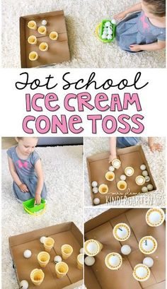 Get moving with this ice cream scoop toss gross motor activity. Perfect for an ice cream theme in tot school preschool or the kindergarten classroom. - Ice Cream Scoop - Ideas of Ice Cream Scoop Ice Cream Games, Ice Cream Theme, Ice Cream Day, Ice Cream Crafts, Ice Cream Social, Gross Motor Activities, Sensory Activities, Tot School, Toddler School