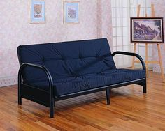 Satin Black Metal Futon Frame