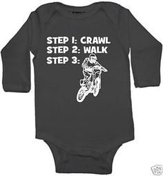 crawl walk dirtbike  custom baby infant bodysuit color and size choice black white pink blue great shower gift new on Etsy, $10.99