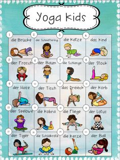 Yoga Poster – Unterrichtsmaterial im Fach Sport Yoga Poster – Teaching material in the subject sports Kids Yoga Poses, Yoga For Kids, Exercise For Kids, Physical Activities For Kids, Teaching Posters, Yoga Books, Yoga School, School School, Kids Class