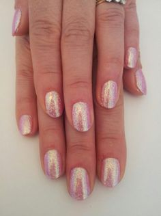 Bio sculpture Gel manicure with glitter