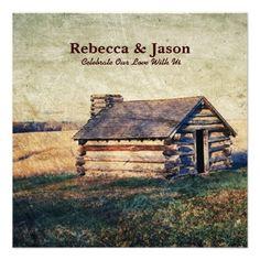 rustic western farm cottage country wedding invitation