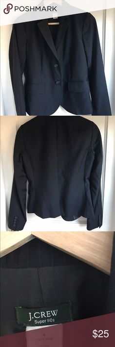 "J.CREW Super 110s Pinstripe Wool Blazer Size 4 Very nice J. Crew Super 110s pinstripe wool blazer. Lined.  Size: 4 Material: Wool  Color: Black Please note measurements (measured lying flat)  Chest: 34"" (17"" side seam to side seam at under arm) Shoulder: 15"" seam to seam Length: 38"" Please do not hesitate to contact me with any questions. J. Crew Jackets & Coats Blazers"