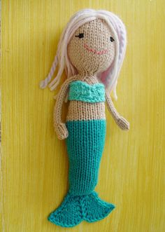Mermaid Doll. - pdf knitting pattern. Knitted in the round ...