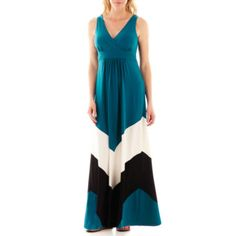 Terrific in Teal...(Studio 1® Sleeveless Colorblock Maxi Dress   found at @JCPenney)