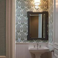 Powder Room with Gray Paisley Wallpaper