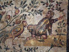 Roman Mosaic. Boy and Rooster. Villa Romana del Casale, Piazza Armerina, Sicily, Italy.