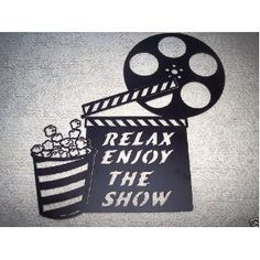 Home Theater Decor Clapboard and Popcorn Relax Enjoy the Show Movie Metal Wall Art Movie Theater Decor, Home Theater Design, Dream Theater, Movie Reels, Metal Wall Art Decor, Home Theater Projectors, Movie Themes, Home Movies, Ideas