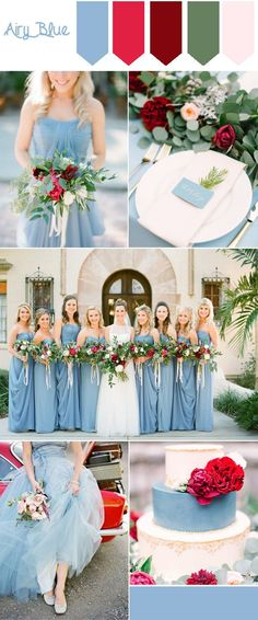 pantone fall wedding colors-airy blue and red wedding color inspiration
