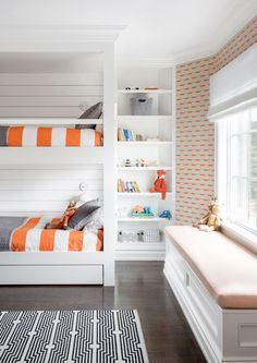 cute kids' room with orange accents