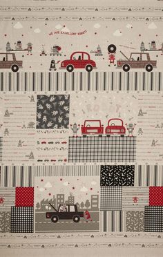 Kokka Trefle Petite Ecole Cotton/Linen Canvas Block Print Black