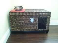 Hide a way Litter Box. - I bought a storage trunk at Target, cut a hole in it just big enough for the cat to get in. The litter box fits to the left of the hole so even if the dog gets her head in, she can't get to the litter. And it looks cute! WIN!!