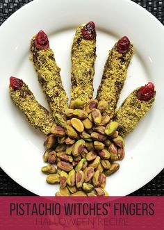 A spooky snack using chocolate and pistachios / perfect fir a Halloween party