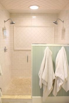 Double Head White Tile Bathroom Shower - just different tiles White Bathroom Tiles, Bathroom Renos, Small Bathroom, Bathroom Showers, Double Shower Heads, Bath Remodel, Bathroom Inspiration, Decoration, House Design