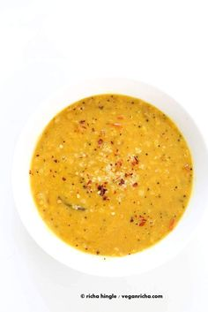 Creamy Dal curry Spiced with fenugreek seeds, cinnamon, black peppercorns Indian Lentil Soup, Vegan Lentil Soup, Vegan Curry, Lentil Curry, Vegan Soups, Vegan Indian Recipes, Asian Recipes, Vegetarian Recipes, Soup Recipes