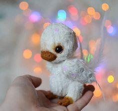 $189 Winter bird Snow - OOAK by Natalia Koroleva