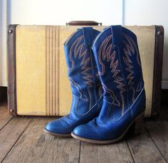 Vintage Women's Cowboy Boots // Blue Cowgirl by PIPandPEPPER, $62.00. I wish these were my size!