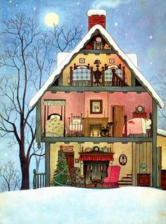 Check out the details in this illustration. I pored over every page. Taken from Clement C. Moore's The Night Before Christmas, 1961 Illustration by Gyo Fujikawa Art And Illustration, Christmas Illustration, Book Illustrations, Architecture Illustrations, Noel Christmas, Vintage Christmas Cards, Vintage Children's Books, Vintage Kids, The Night Before Christmas