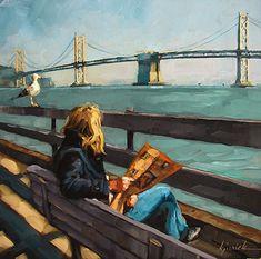"Daily Paintworks - ""San Francisco - the Perfect Gift Idea"" - Original Fine Art for Sale - © Karin Jurick Painting People, Figure Painting, Portrait Art, Portraits, Newspaper Art, San Francisco, Reading Art, Paintings I Love, Art Plastique"