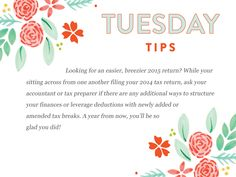 We are getting into the dreaded tax season!  Follow our Tuesday Tips this month to help you along:  http://www.everythingbloom.com/tuesday-tips-149-%C2%B7-tax-strategies