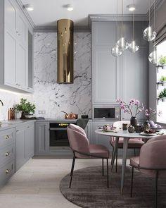Grey, blush pink, marble, gold kitchen. Ikea bodbyn.