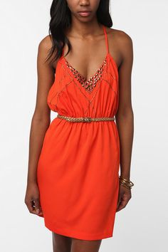 Embellished Strappy Silky Dress- UO