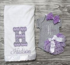 Baby girl coming home outfit gray and lavender onepiece bloomers plush blanket headband Personalized baby shower gift monogrammed newborn by ChesapeakeBayby on Etsy