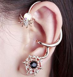 Check out this beautifully spider web diamond ear hook