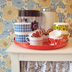 Retro dishes <3-my favorite way to serve up food and drinks!