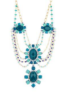 Cara Accessories Floral Drape Drop Necklace