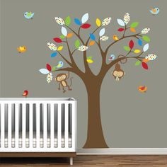 wall decals tree decal with monkeys nursery vinyl by Modernwalls