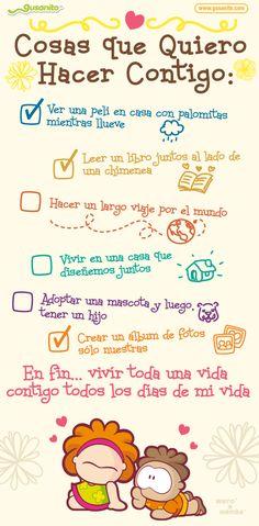 Cosas que quiero hacer contigo | Postales y tarjetas de Amor, tarjetas_fijas, wero, wamba, | Gusanito.com