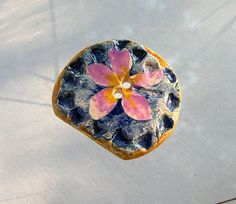 Huge Ceramic Art Button  - Real  Flower   - 2 hole hand made -impressed - stamped - handpainted