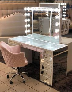 A Hollywood Mirror Makeup Vanity Table Cute Bedroom Decor, Bedroom Decor For Teen Girls, Girl Bedroom Designs, Stylish Bedroom, Teen Room Decor, Room Ideas Bedroom, Beauty Room Decor, Makeup Room Decor, Makeup Rooms