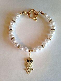 White Gold-Plated Owl Beaded Charm Bracelet  #Etsy #Jewelry
